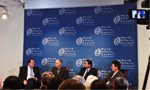 Asia Foundation President David Arnold moderates discussion on India's future with panelists Pradeep Chhibber, Sunder Ramaswamy and Thomas Blum in an event organized by The World Affairs Council on July 23.